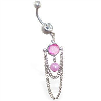 Belly ring with dangling pink jeweled and pearl with chains