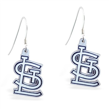 Sterling Silver Earrings With Official Licensed Pewter MLB Charms, St. Louis Cardinals