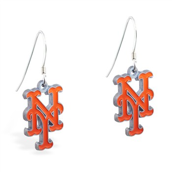 Sterling Silver Earrings With Official Licensed Pewter MLB Charms, New York Metts