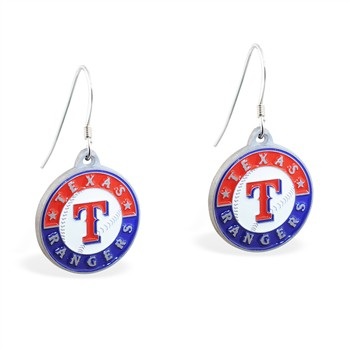 Sterling Silver Earrings With Official Licensed Pewter MLB Charms, Texas Rangers