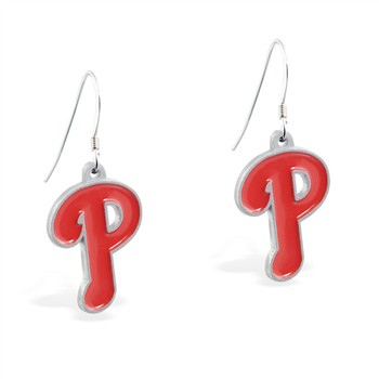 Sterling Silver Earrings With Official Licensed Pewter MLB Charms, Philadelphia Phillies