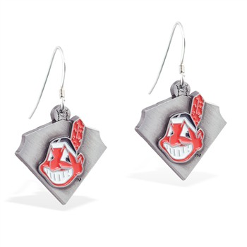 Sterling Silver Earrings With Official Licensed Pewter MLB Charms, Cleveland Indians