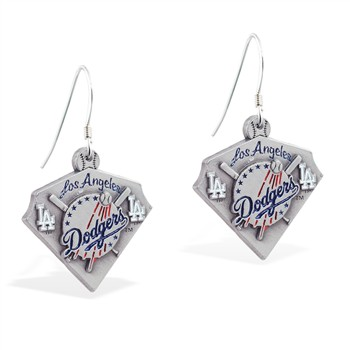 Sterling Silver Earrings With Official Licensed Pewter MLB Charms, Los Angeles Dodgers