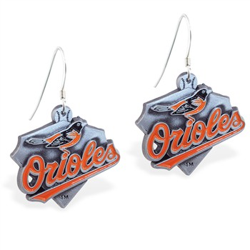 Sterling Silver Earrings With Official Licensed Pewter MLB Charms, Baltimore Orioles