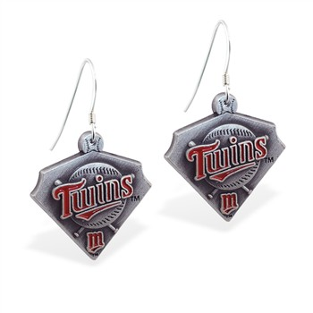 Sterling Silver Earrings With Official Licensed Pewter MLB Charms, Minnesota Twins