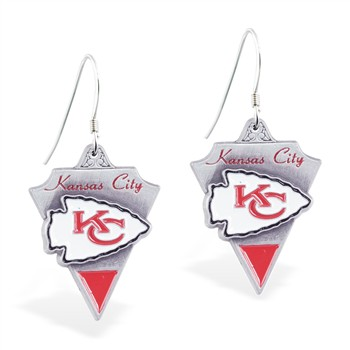 Sterling Silver Earrings With Official Licensed Pewter NFL Charm, Kansas City Chiefs