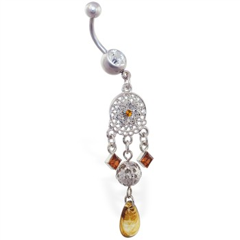 Jeweled chandelier belly ring