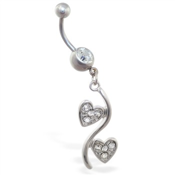 Belly ring with jeweled double heart dangle