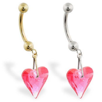 14K Gold belly ring with dangling swarovski ruby red crystal heart