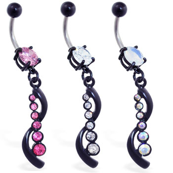 Belly ring with jeweled black coated dangle