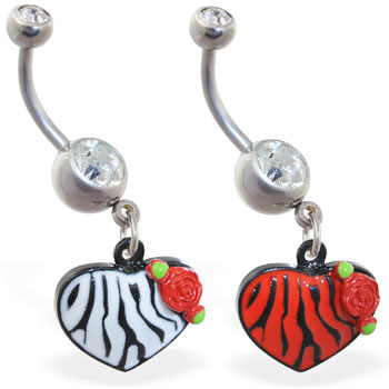 Belly ring with dangling tiger print heart