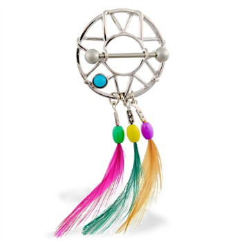 Nipple Shield with Turquoise Stone And Dangling Multi-Color Feathers, 14 Ga