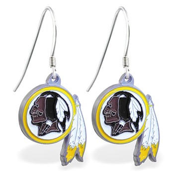 Sterling Silver Earrings With Official Licensed Pewter NFL Charm, Washington Redskins