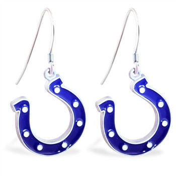 Sterling Silver Earrings With Official Licensed Pewter NFL Charm, Indianapolis Colts