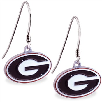 Sterling Silver Earrings With Official Licensed Pewter NCAA Charm, University Of Georgia Bulldogs