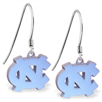Sterling Silver Earrings With Licensed Pewter NCAA Charm, University Of North Carolina Tarheels