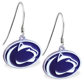 Sterling Silver Earrings With Official Licensed Pewter NCAA Charm, Penn State Nittany Lio