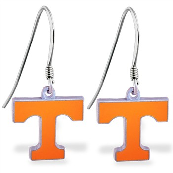 Sterling Silver Earrings With Official Licensed Pewter NCAA Charm, University Of Tennesse