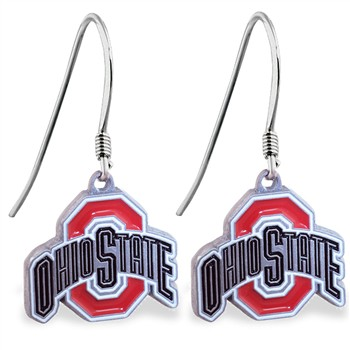 Sterling Silver Earrings With Official Licensed Pewter NCAA Charm, Ohio State Buckeyes