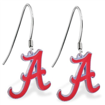 Sterling Silver Earrings With Official Licensed Pewter NCAA Charm,University Of Alabama Crimson Tide