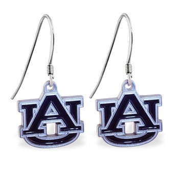 Sterling Silver Earrings With Official Licensed Pewter NCAA Charm, Auburn University Tige
