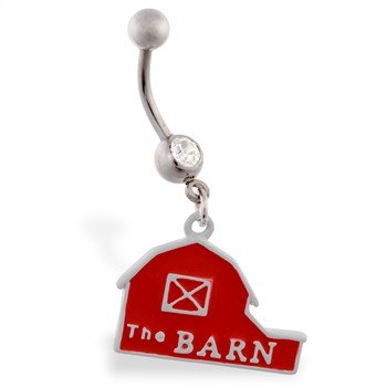 Jeweled belly ring with dangling red barn