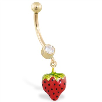 14K Yellow Gold belly ring with dangling strawberry