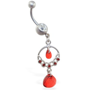Dangling chandelier belly ring with red stones