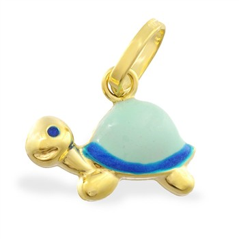 14K Yellow Gold Enameled Turtle Pendant