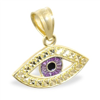14K Yellow Gold Eyeball Pendant