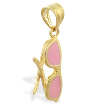 14K Yellow Gold Enameled Sunglasses Pendant