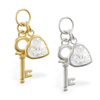 14K Yellow Gold CZ jeweled heart and key pendant