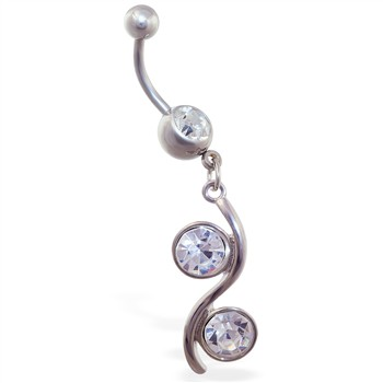 Belly ring with double CZ dangle