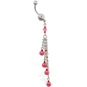 Navel ring with dangling chains and pink pearls
