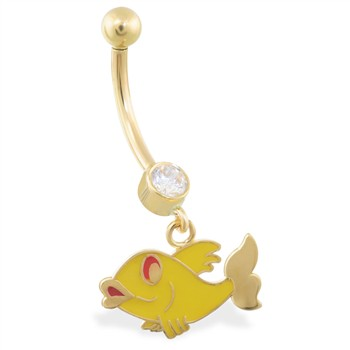 14K Yellow Gold belly ring with dangling enameled fishy