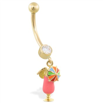 14K Yellow Gold belly ring with dangling enameled martini