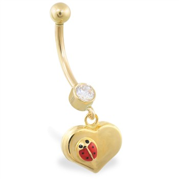 14K Yellow Gold belly ring with dangling heart and ladybug