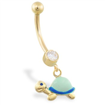 14K Yellow Gold belly ring with dangling enameled turtle
