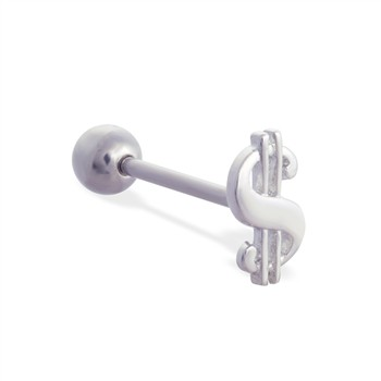 Straight barbell with money sign top, 14 ga