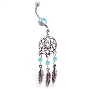 Jeweled belly ring with dangling dream catcher and feathers