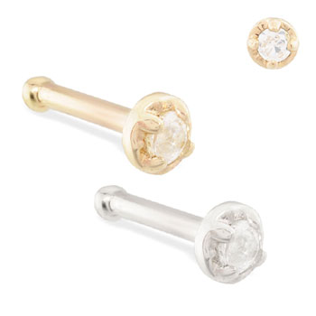 14K Gold nose bone with 1.5mm clear CZ gem