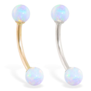 14K Gold curved barbell with White opal balls