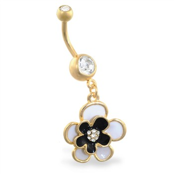 Gold Tone belly ring with dangling black flower