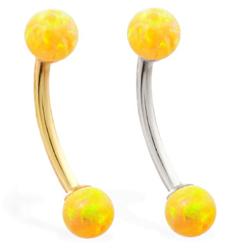 14K Gold curved barbell with Yellow opal balls
