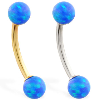 14K Gold curved barbell with Blue opal balls