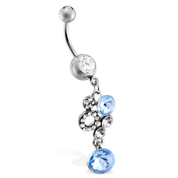 Jeweled navel ring with lt blue jeweled dangle