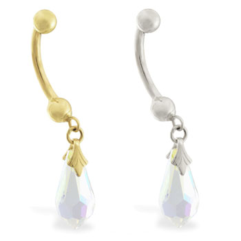 14K Gold belly ring with dangling AB swarovski crystal teardrop