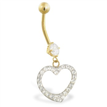 14K Gold belly ring with jeweled heart
