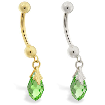 14K Gold belly ring with dangling green swarovski crystal teardrop