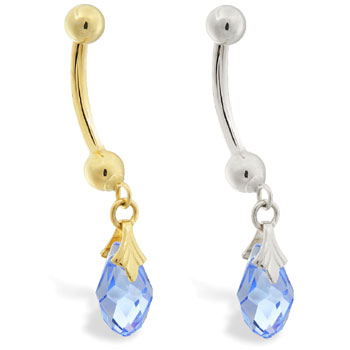 14K Gold belly ring with dangling light blue swarovski crystal teardrop